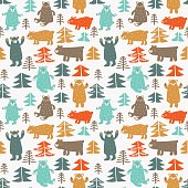 Funny animal seamless pattern made of bears in forest. Ideal for cards, invitations, party, banners, kindergarten, baby shower, preschool and children room decoration. Modern design in pastel colors