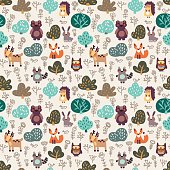 Funny animal seamless pattern with floral background made of wild animals in forest: bear, deer, hedgehog, raccoon, fox, rabbit and owl. Ideal for cards, wallpapers and children room decoration
