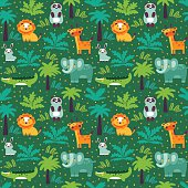Funny animal seamless vector pattern with white background made of wild animals in jungle. Perfect for cards, invitations, party, banners, kindergarten, preschool and children room decoration