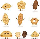 Funny bakery food with different emotions. Vector characters in cartoon style. Face character bread illustration