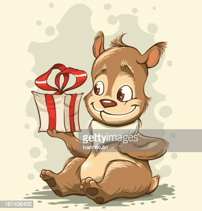 Funny bear with a gift in paws : Vector Art