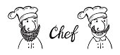 Funny Bearded and Mustachioed Chef. Hand drawn Cartoon Hipster Chef Cook Characters. Black and white outline drawing. Vector illustration