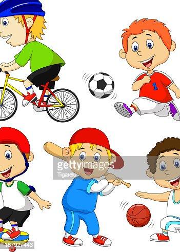 Lustiger Junge Comicfigur Macht Sport Vektorgrafik ...