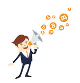 Funny businessman shouting announce financial news bitcoin bit coin digital currency cryptocurrency grow.Orange coin with bitcoin symbol isolated white background.Vector illustration flat style design