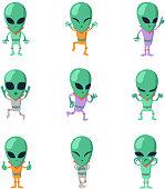 Funny cartoon aliens vector green humanoid characters. Humanoid and alien character, monster friendly martian illustration