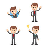 A funny cartoon businessman wearing a suit in different poses