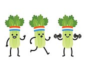 Funny heath and fitness illustration set. Cartoon celery with sweatband jogging and lifting dumbbells. Cute character drawing.