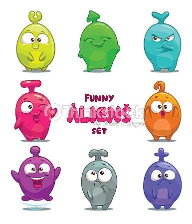 Funny Cartoon Colorful Aliens Vector Art