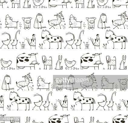 Funny Cartoon Farm Domestic Animals Seamless Pattern For