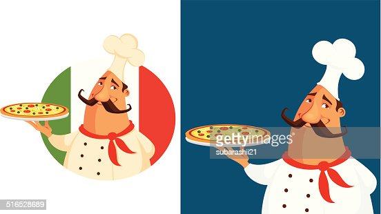 Funny Cartoon Illustration Dun Chef Italien Clipart ...