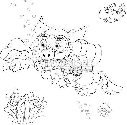 Funny Cartoon Pig Diver Looking At Jellyfish Coloring Book Vector Art