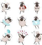 Funny cartoon sheeps in various action poses. Lamb mascot animal, character mammal adorable. Vector illustration
