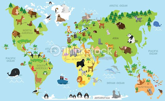 Funny cartoon world map with animals vector art thinkstock funny cartoon world map with animals vector art gumiabroncs Choice Image
