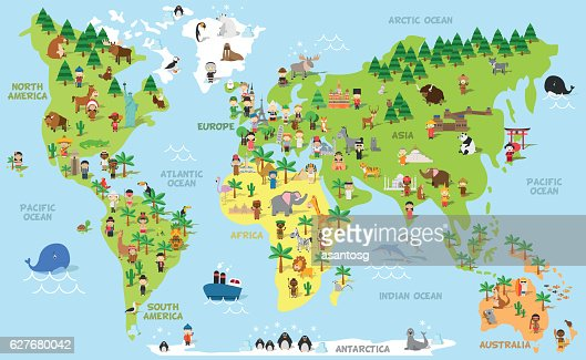 Funny cartoon world map with children, animals and monuments : Arte vettoriale