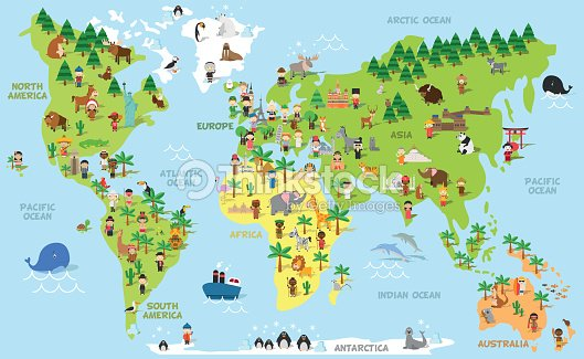 Funny cartoon world map with children, animals and monuments