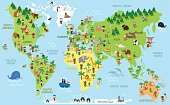 Funny cartoon world map with children of different nationalities, animals and monuments of all the continents and oceans. Vector illustration for preschool education and kids design.