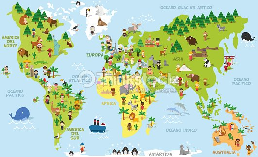 Funny Cartoon World Map With Childrens Of Different Nationalities