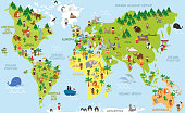 Funny cartoon world map with childrens of different nationalities, animals and monuments of all the continents and oceans. Names in spanish. Vector illustration for preschool education and kids design