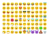 Set of cartoon vector emoticons isolated on white background.