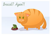 Vector funny animal. Fat cute cat on a diet. Postcard with a comic phrase. Sad cat with an plate of broccoli. Isolated object on white background.
