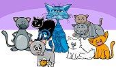 Cartoon Illustration of Cats and Kittens Animal Characters Group