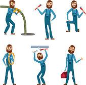 Funny character of repairman or plumber in different poses. Vector mascot design. Illustratioin of repairman and plumber, worker service