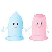 Funny characters Female and male condoms. World Contraception Day