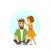 funny cheerful father and daughter party time scene, girl is making hair makeup nails, manicure and pedicure for dad, happy fathers day humor vector illustration