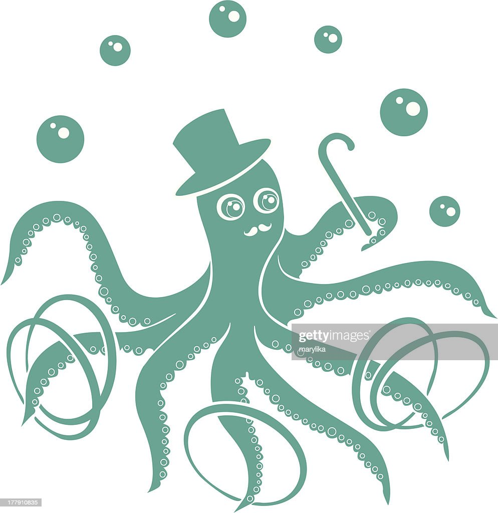 Funny Circus Octopus : Vector Art