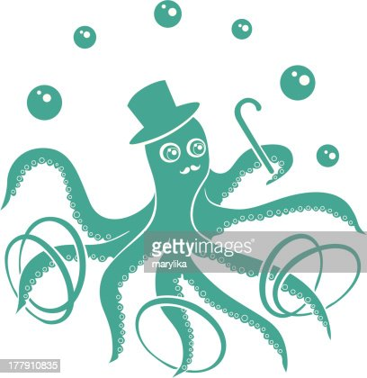 Funny Circus Octopus : Vector Art