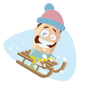 funny clipart of sledging cartoon man