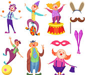 Funny clowns characters and different circus accessories. Character cartoon clown, comedian and jester performance in costume, vector illustration