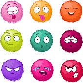 Funny colorful cartoon fluffy ball vector fuzzy characters set. Monsters with different emotion. Cute monster character, illustration of color fuzzy creature