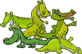 Cartoon Illustration of Funny Crocodiles Wild Animal Characters Group