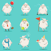 Funny cute little sheep cartoon characters set for label design. Sheep activities with different emotions and poses. Colorful detailed vector Illustrations isolated on white background