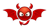 Funny devil on a white background