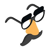 Funny disguise mask with glasses, fake nose icon in isometric 3d style on a white background