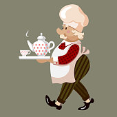 vector illustration with confectioner and teapot on grey background