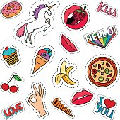 Funny quirky colorful food stickers set with pizza, cherry, ice cream and words. Vector patches and badges on white background