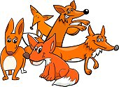 Cartoon Illustration of Funny Foxes Wild Animal Characters Group