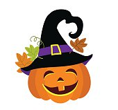 Funny halloween pumpkin with witches hat vector illustration.