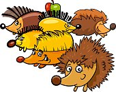 Cartoon Illustration of Funny Hedgehogs Wild Animal Characters Group