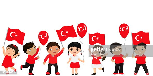 Funny kids of different races with various hairstyles with flags. graphic design to the Turkish holiday. : stock vector
