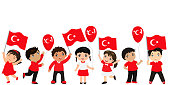 Turkish children with flags and balloons. graphic design to the Turkish holiday.