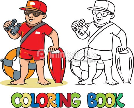 funny lifeguard coloring book vector art