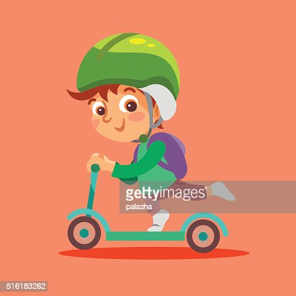 Funny Little Boy Riding Kid Scooter Vector Art