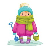 Funny little cartoon kid with toy bucket and shovel. Winter kids activity, vector illustration.