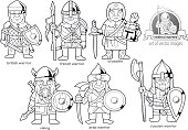 cartoon funny medieval warriors, set of images