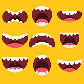 A set of cartoon mouths with different expressions.
