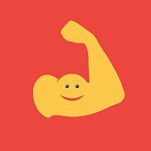 Muscular arm icon. Biceps smiling. Funny concept gym. Vector illustration in a flat style template for web banner design, brachyury or advertising